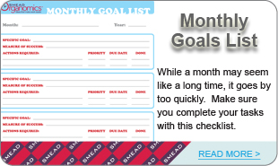 Monthly Goals List