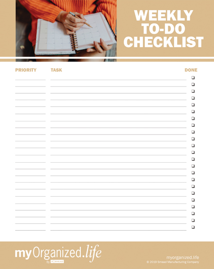 Printable Checklist Weekly To Do List