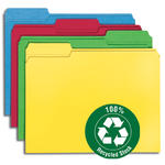Smead 100% Recycled File Folder 12008, Reinforced 1/3-Cut Tab, Letter, Assorted Colors
