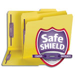 "Smead Pressboard Fastener Folder with SafeSHIELD® Fasteners 14939, 2 Fasteners, 1/3-Cut Tab, 2"" Expansion, Letter, Yellow"