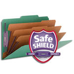 Smead Pressboard Classification File Folder with SafeSHIELD® Fasteners 19097, 3 Dividers, 3