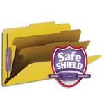Smead PressGuard® Classification File Folder with SafeSHIELD® Fasteners 19203, 2 Dividers, Legal, Yellow