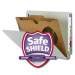 Smead End Tab Classification File Folder with SafeSHIELD® Fasteners 26700, 1 Pocket-Style Divider, Letter, Gray/Green