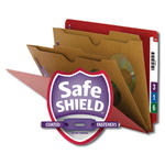 Smead End Tab Classification File Folder with SafeSHIELD® Fasteners 26713, 2 Pocket-Style Dividers, Letter, Bright Red