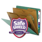 Smead End Tab Classification File Folder with SafeSHIELD® Fasteners 26715, 2 Pocket-Style Dividers, Letter, Green