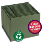 100% Recycled Expanding File w/ Double Capacity Pockets