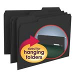 Smead Interior File Folder 10243, 1/3-Cut Tab, Letter, Black
