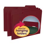 Smead Interior File Folder 10275, 1/3-Cut Tab, Letter, Maroon