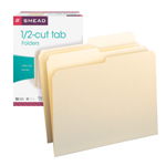 Smead File Folder 10320, 1/2-Cut Tab, Letter, Manila