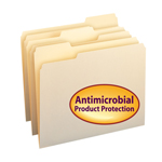 Smead File Folder with Antimicrobial Product Protection 10338, 1/3-Cut Tab, Letter, Manila