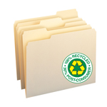 Smead 100% Recycled File Folder 10339, 1/3-Cut Tab, Letter, Manila