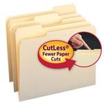 Smead CutLess® File Folder 10341, 1/3-Cut Tab, Letter, Manila