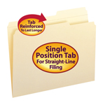 Smead Manila File Folders 10386, Reinforced 2/5-Cut Right Position Tab, Guide Height, Letter, Manila