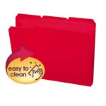 Smead Poly File Folder 10501, 1/3-Cut Tab, Letter, Red