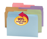 Smead SuperTab® File Folder 11906, Oversized 1/2-Cut Tab, Letter, Assorted Colors