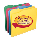 Smead WaterShed®/CutLess® File Folder 11952, 1/3-Cut Tab, Letter, Assorted Colors
