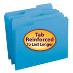 Smead File Folder 12034, Reinforced 1/3-Cut Tab, Letter, Blue