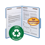 Smead 100% Recycled Fastener File Folder 12041, 2 Fasteners, Reinforced 1/3-Cut Tab, Letter, Blue