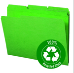 Smead 100% Recycled File Folder 12138, Reinforced 1/3-Cut Tab, Letter, Green