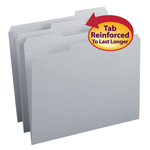 Smead File Folder 12334, Reinforced 1/3-Cut Tab, Letter, Gray
