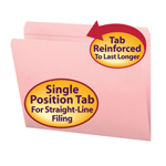 Smead File Folder 12610, Reinforced Straight-Cut Tab, Letter, Pink