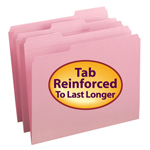 Smead File Folder 12634, Reinforced 1/3-Cut Tab, Letter, Pink