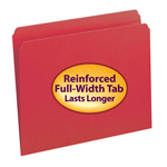 Smead File Folder 12710, Reinforced Straight-Cut Tab, Letter, Red