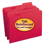 Smead File Folder 12734, Reinforced 1/3-Cut Tab, Letter, Red