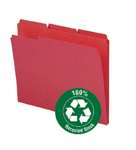 Smead 100% Recycled File Folder 12738, Reinforced 1/3-Cut Tab, Letter, Red