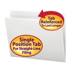 Smead File Folder 12810, Reinforced Straight-Cut Tab, Letter, White