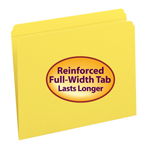 Smead File Folder 12910, Reinforced Straight-Cut Tab, Letter, Yellow