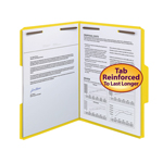 Smead Fastener File Folder 12940, 2 Fasteners, Reinforced 1/3-Cut Tab, Letter, Yellow