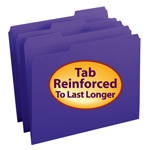 Smead File Folder 13034, Reinforced 1/3-Cut Tab, Letter, Purple