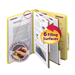 Smead Pressboard Classification Folder with SafeSHIELD® Fasteners 14034, 2 Dividers, 2