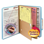 Smead Pressboard Classification File Folder with Wallet Divider and SafeSHIELD® Fasteners 14081, 2 Dividers, 2