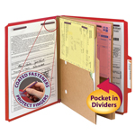 Smead Pressboard Classification File Folder with Pocket Divider and SafeSHIELD® Fasteners 14082, 2 Dividers, 2