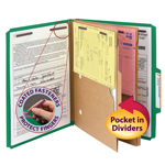 Smead Pressboard Classification File Folder with Pocket Divider and SafeSHIELD® Fasteners 14083, 2 Dividers, 2