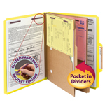 Smead Pressboard Classification File Folder with Wallet Divider and SafeSHIELD® Fasteners 14084, 2 Dividers, 2