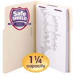 Smead Extra-Capacity Manila Fastener Folders with SafeSHIELD® Coated Fastener Technology 14575, 1/3-Cut Tab, Letter