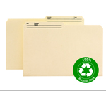 Smead 100% Recycled File Folder 15329, 1/2-Cut Tab Center Position, Legal, Manila