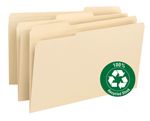 Smead 100% Recycled File Folder 15347, Reinforced 1/3-Cut Tab, Legal, Manila