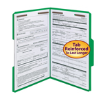 Smead Fastener File Folder 17140, 2 Fasteners, Reinforced 1/3-Cut Tab, Legal, Green
