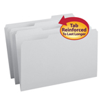 Smead File Folder 17334, Reinforced 1/3-Cut Tab, Legal, Gray