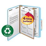 Smead 100% Recycled Pressboard Classification Folder 18748, 1 Divider, 2