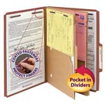Smead Pressboard Classification File Folder with Wallet Divider and SafeSHIELD® Fasteners 19079, 2 Dividers, 2