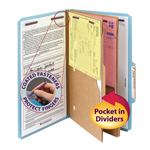 Smead Pressboard Classification File Folder with Wallet Divider and SafeSHIELD® Fasteners 19081, 2 Dividers, 2