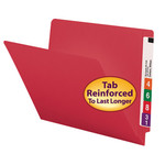 Smead End Tab File Folder 25710, Shelf-Master® Reinforced Straight-Cut Tab, Letter, Red