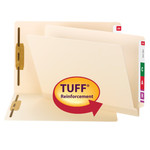 Smead  TUFF® Laminated End Tab Fastener Folder 34105, Reinforced Straight Cut Shelf-Master® Tab, Letter, Manila
