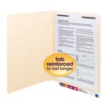Smead End Tab Fastener File Folder 34110, Shelf-Master® Reinforced Straight-Cut Tab, 1 Fastener, Letter, Manila