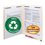 100% Recycled End Tab Fastener Folder with Shelf-Master® Reinforced Tab